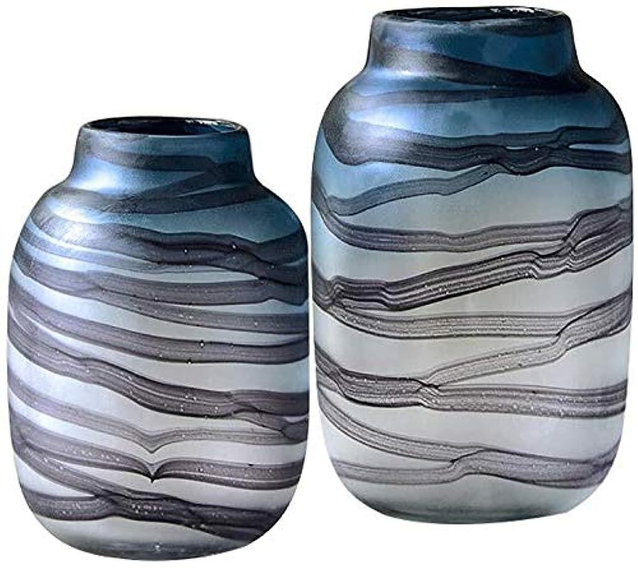 蒸留教師の日地中海花器 透明なガラスの花瓶手作りのために花の水リップルデザイン装飾ブルーサイズ工場花28 * 12センチメートル 花瓶