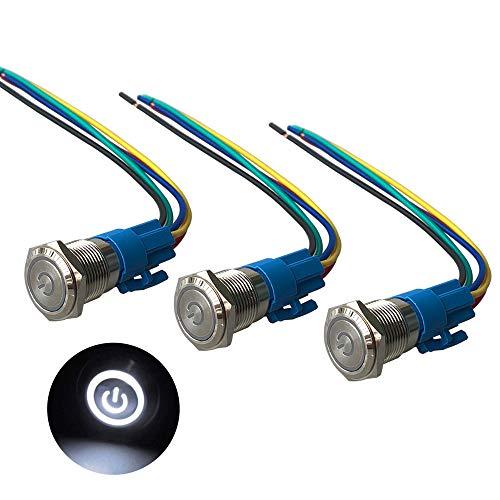 QitinDasen 3Pcs Premium 12V / 24V 5A Interruptor de Botón Autoblocante, 16mm Interruptor de Botón Metálico, LED Blanco Interruptor Pulsador Impermeable IP67 con Enchufe de Cable