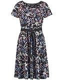 Taifun Damen Slinkykleid Mit Floral-Print Tailliert Black Gemustert L