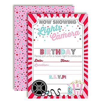 Movie Night Birthday Party Invitations for Girl 20 5 x7  Fill in Cards with Twenty White Envelopes by AmandaCreation