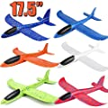 "BooTaa 6 Pack Airplane Toys, 17.5"" Large Throwing Foam Plane, 2 Flight Mode Foam Gliders, Birthday for Kids 3 4 5 6 7 8 9 10 11 12 Year Old Boys Kids Girls, Outdoor Yard Game Toys from BooTaa"
