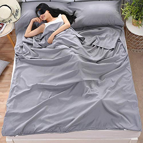 Camping Sleeping Bag Liner Lightweight Portable Clean Travel Sheet Sack for Hotel Train Trip Hiking Camping Outdoor Picnic (Grey, 47.2 x 82.7incn)