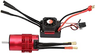 Suchinm RC Motor ESC Set, 3100KV 3665Motor y KS80A ESC Radiadores Shell RC Accesorios de Repuesto para RC Model Car