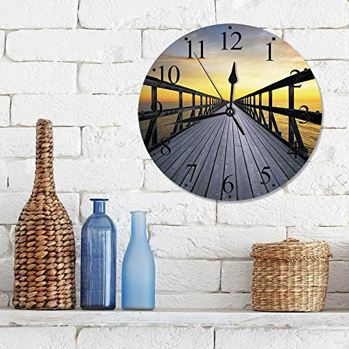 Silencioso Wall Clock Decoración de hogar de Reloj de Redondo,Arte, Long Wood Pier Deck junto al mar que desaparece en Sunset Nature Scenery en Twilight ,para Hogar, Sala de Estar, el Aula