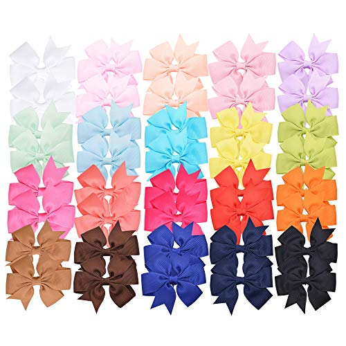 40 Pieces 3 inches Baby Girls Hair Bows Clips Boutique Grosgrain Ribbon Bow Pinwheel Barrettes For Babies Kids Toddlers Teens Gifts In Pairs
