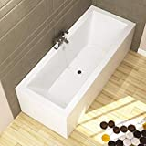 1700 x 750mm Designer Double Ended Bathtub Acrylic Bathroom Square Straight Bath Tub - Amaze