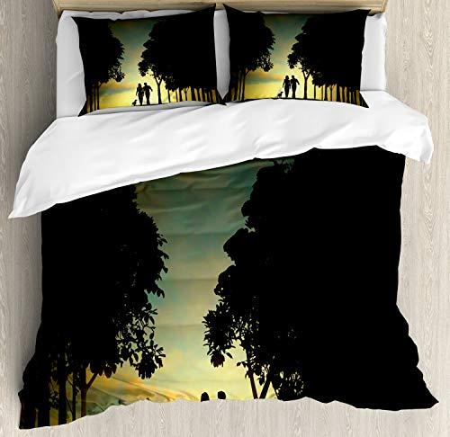 ABAKUHAUS Bos Dekbedovertrekset, Paar met Hond en Trees, Decoratieve 3-delige Bedset met 2 Sierslopen, 230 cm x 220 cm, Veelkleurig