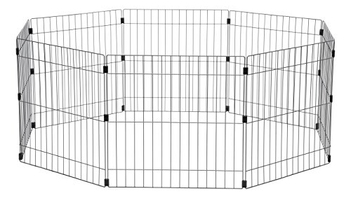 Iris Ohyama, parque para perros / jaula exterior / recinto / perrera - Wire Pet Circle - 24 pulgadas, epoxi, plata, 1.5m², 60 x 60 cm