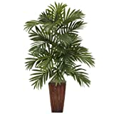 Nearly Natural 6675 Areca Palm with Bamboo Vase Decorative Silk Plant, Green,7.5' x 9' x 30'