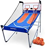 INTEY Dual Shot Electronic Basketball Arcade Game, Indoor Foldadle Arcade Hoop w/ 5 Balls and 8 Game Modes, High Accuracy Mechanical Scoring System