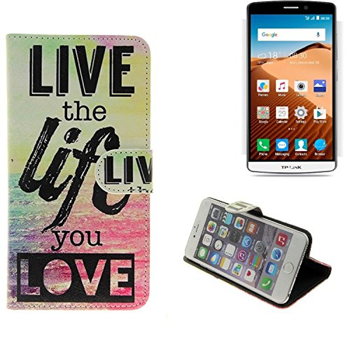 K-S-Trade® Schutzhülle Für TP-LINK Neffos C5 Max Schutz Hülle 360° Wallet Case ''live Life Love'' Schutzhülle Handy Tasche Handyhülle Etui Smartphone Flip Cover Standfunktion (1x)