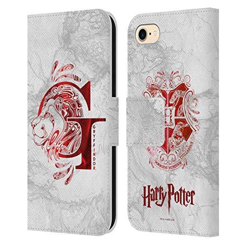 Head Case Designs Ufficiale Harry Potter Gryffindor Aguamenti Deathly Hallows IX Cover in Pelle a Portafoglio Compatibile con Apple iPhone 7 / iPhone 8 / iPhone SE 2020