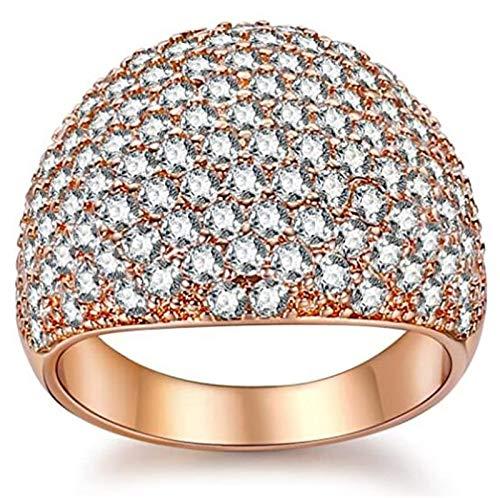 minjiSF Anillo ancho de diamante para mujer, anillo clásico de alta calidad, exquisito, retro, joya de compromiso, anillo de boda, aniversario, regalo (oro rosa, 7)