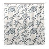 BALII Bali Vintage Duschvorhang mit Schildkröte, 182,9 x 182,9 cm, Polyester, wasserdicht mit 12 Haken für Badezimmer