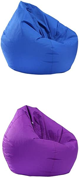 Fityle 2 Pieces Royal Blue Purple Bean Bag Cover Bean Bag Without Filling Kids Comfy Chair Comfortable Seating Cover Waterproof