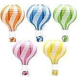 熱気球型 紙提灯 ちょうちん キッズ パーティー イベント 学園祭 デコレーション 装飾 結婚式 誕生日イベント ウェディング装飾 5個セット (直径30cm×高さ42cm)