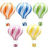 Hanging Hot Air Balloon Paper Lanterns Set, Party Decoration Birthday Wedding Christmas Party Decor Gift, 12 inch, Pack of 5 Pieces …