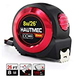 HAUTMEC 8m Auto Lock Tape Measure, Imperial Metric Inches Scale, Nylon Coated Measuring Tape Ruler Blade and...
