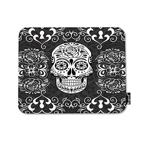 Mugod Skull Mouse Pad Day of The Dead Sugar Skull Rose Eye Black and White Flowers Mouse Mat Non-Slip Rubber Base Mousepad for Computer Laptop PC Gaming Working Office & Home 9.5x7.9 Inch