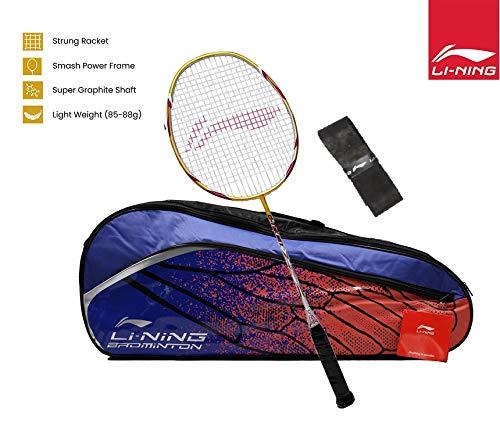 Li-Ning G-Tek 98 II Badminton Racquet (Gold/Grey) with Blue/Orange Kit Bag & Free Grip