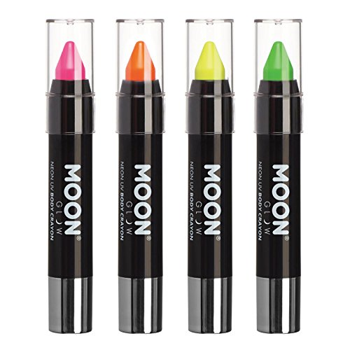 Barra de pintura facial/Maquillaje de cera corporal lápiz de cuerpo UV neón para rostro y cuerpo – Pastel set de 4 colores - Brilla intensamente bajo la luz UV