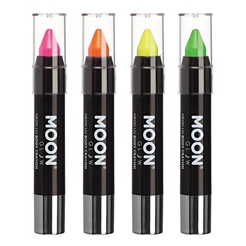 Moon Glow - Barra de pintura facial/Maquillaje de cera corporal lápiz de cuerpo UV neón para rostro y cuerpo – Pastel set de 4 colores - Brilla intensamente bajo la luz UV