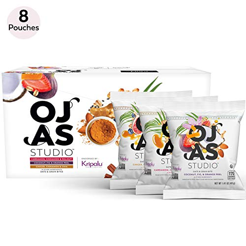 OJAS STUDIO Date & Grain Bites, 3 Flavor Variety Pack, 8 Pouches, 5-7 bites per Pouch, made with organic dates & oats, no artificial sweeteners