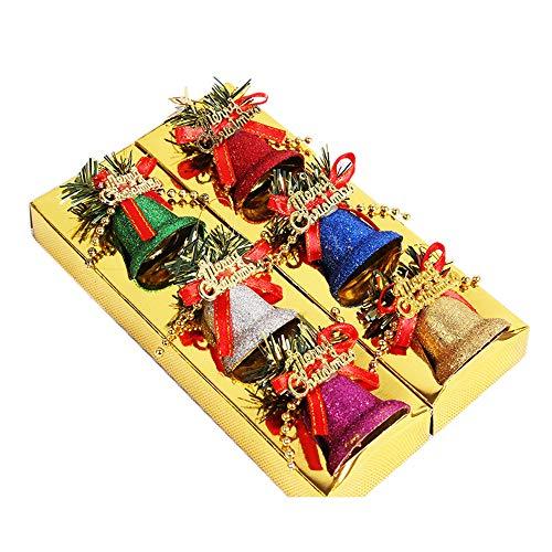DELLCCIU 6 Stück Weihnachtsbaum Dekoration Glocke, Weihnachtsbaum hängende Glocken, Weihnachtsbaum-Dekoration, Hängeornament, Dekoration für Zuhause, Party (A)