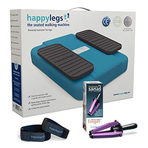 Oferta Pack Happylegs Azul + Manos Sanas + Correas. Estimula tu circulación de piernas y manos. La Máquina de Andar Sentado que Ayuda a Mejorar la Circulación. ÚNICA fabricada en España (Azul)
