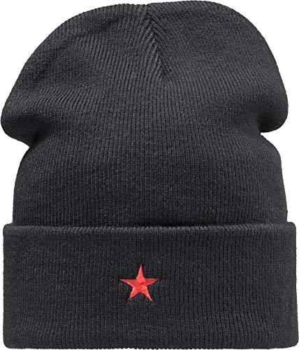 Baddery Strickmütze: Roter Stern - Wintermütze Long Beanie Workwear Mütze - Unisex...