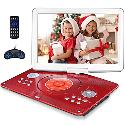 16.9' Portable DVD Player with 14.1' Large Swivel Screen, Kids DVD Player Portable for Travel with 4 Hrs Rechargeable Battery, Portable Video Player Sync TV, Support USB SD Card with Car Charger (Red)