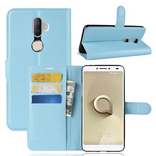 LMFULM® Hülle für Alcatel 3V 5099D (6 Zoll) PU Leder Magnet Brieftasche Lederhülle Litschi Muster Standfunktion Ledertasche Flip Cover für Alcatel 3V Blau