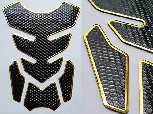 Tankpad Tankschutz Motorrad Carbon Schwarz Gold Optik universal