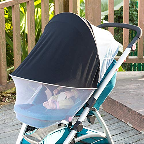 ASEOK Universal Verstellbar 2-in-1 Baby Buggy Sonnenschutz Moskitonetz Markise wasserdicht und winddicht Anti-UV Regenschirm Baldachin Universal passend für Kinderwagen weiß (Weiß)