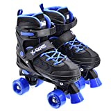 M.Y X-Skate Adjustable Quad Roller Skates Black & Blue