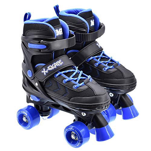 M.Y X-Skate Adjustable Quad Roller Skates Black & Blue
