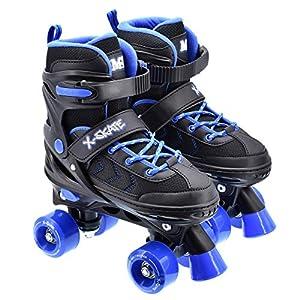 M.Y X-Skate Patines de 4 Ruedas Ajustables en Negro y Azul
