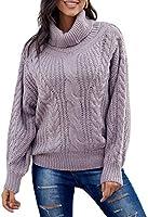 HIKARO Damen Strick Pullover einfarbig Damenpulli Rollkragen Langärm Damen Casual Pullover Strickpulli Sweater Damentops...