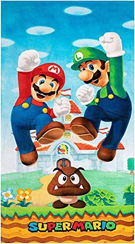 Mario Bros Toalla de playa para niños, para baño, piscina, deporte, verano (Mario1, 75 x 150 cm)