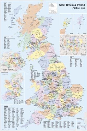 Póster de mapa político de Gran Bretaña e Irlanda