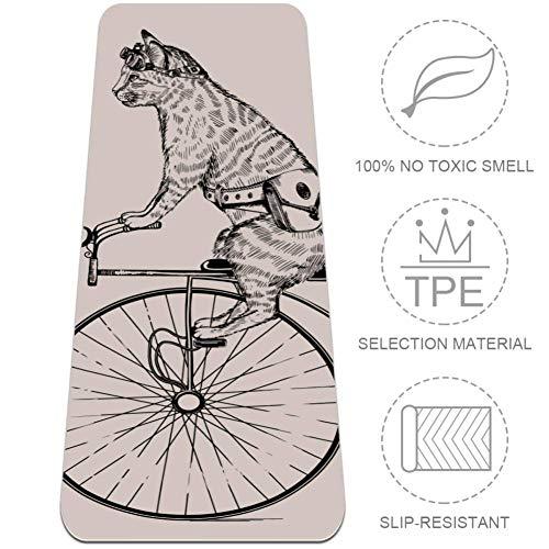 Xingruyun Katze, die EIN Einrad reitet Yogamatte Gymnastikmatte 6mm Dicke Übungsmatte TPE Umweltschutz Rutschfester Druck Pilates Fitnessmatte 183x61cmx0.6cm