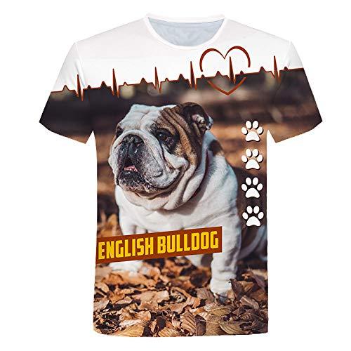 ZHRDRJB 3D T-Shirts,Sommer T-Shirt Männer 3D Englisch Bulldogge Gedruckte T-Shirt Mode Kurzarm Tops Street Rundhals Neuheit T-Shirt Unisex Casual T-Shirt, M.