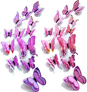 【Double Wings】 TERSELY 12 Purple+ 12 Pink 3D Butterfly Wall Removable Sticker Decals, Home Decoration DIY Removable Man-Ma...