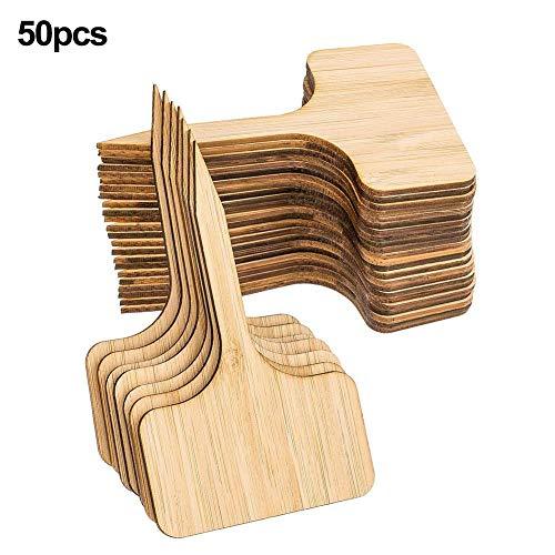 50PCS Bamboo Plant Labels, Flower Card Cartoline succulente Cartelli paesaggistici, Eco-Friendly T-Type Cartello in legno Cartellini per giardino Segn
