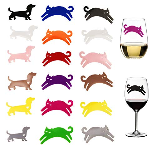 YAVO-EU Glasmarker, 18pcs Weinglas Mark Silikon Wiederverwendbare Glasmarkierer Drinking Buddies Cocktail (cat and Dog)
