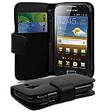 Cadorabo Custodia Libro per Samsung Galaxy Ace 2 in Nero - con Vani di Carte e Funzione Stand di Similpelle Fine - Portafoglio Cover Case Wallet Book Etui Protezione