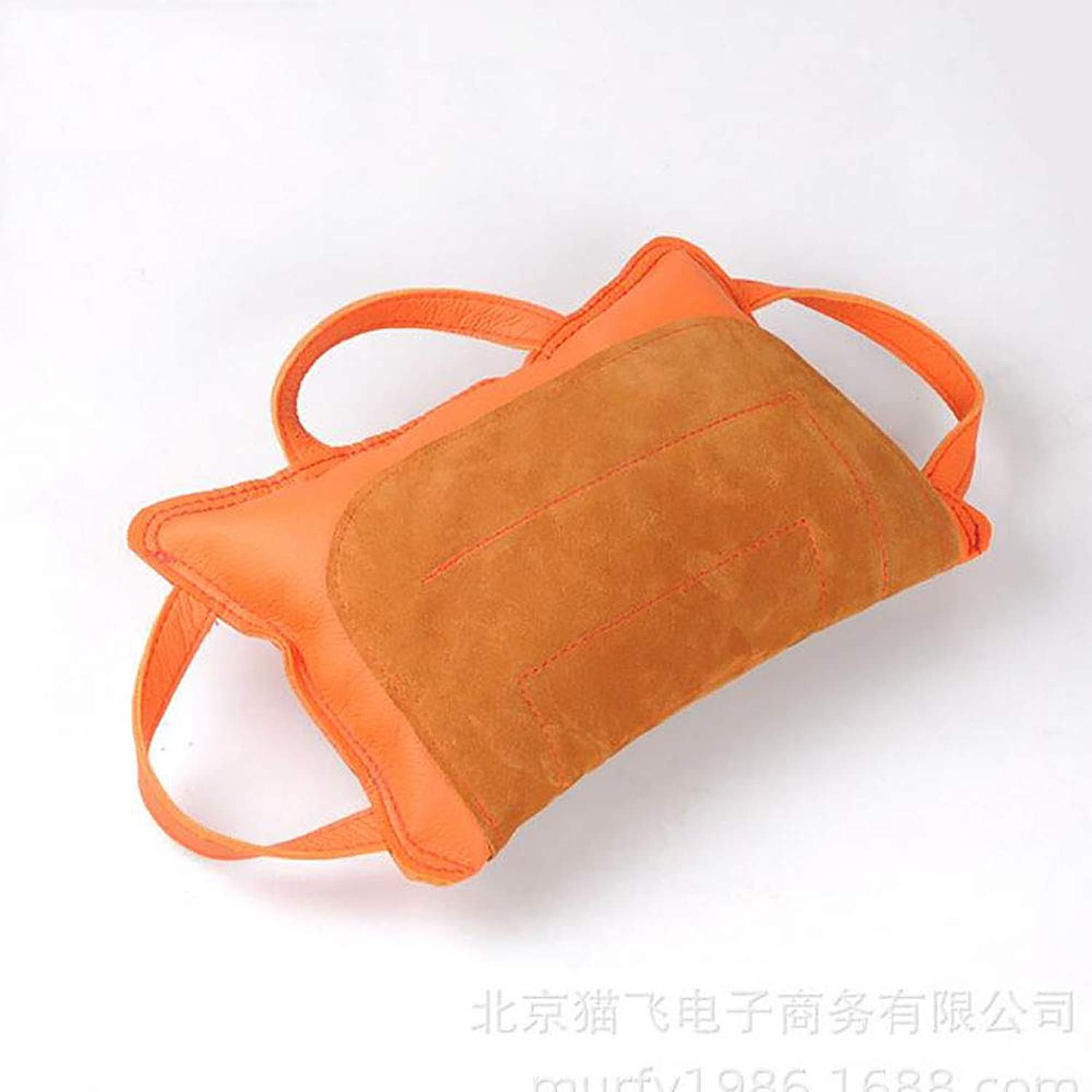 Pet PU Leather bite Pillow Dog Bite Arm Predection Sleeve with 3 Handles Durable Training Biting Tug Toy for Medium Large Dogs,orange