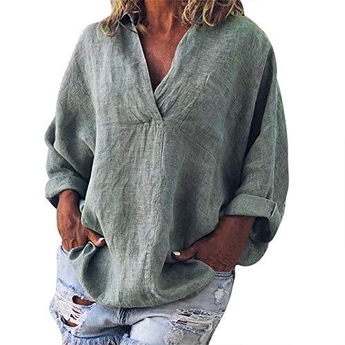CAOQAO Damen Sexy Einfarbig Mode Plus Größe Solide Lässig Leinen V-Ausschnitt Bluse T-Shirt Atmungsaktives Laufshirt(XXXL,Grau)