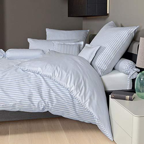 Janine Design Streifen-Bettwäsche modern Classic perlblau Bettbezug einzeln 200x220 cm