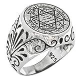 ソロモンの指輪Talisman特別なデザインIslamic 925スターリングシルバートルコハンドメイドソリッドリング